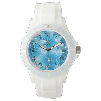 El azul de cielo florece arte del vector relojes de mano