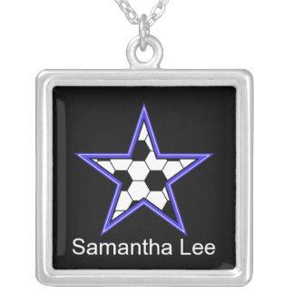 el azul de la estrella de fútbol personaliza añade colgante cuadrado
