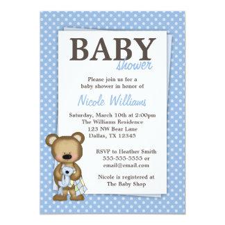 """El azul de la fiesta de bienvenida al bebé del oso invitación 5"""" x 7"""""""