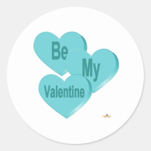 El azul de los corazones del caramelo sea mi pegatina redonda