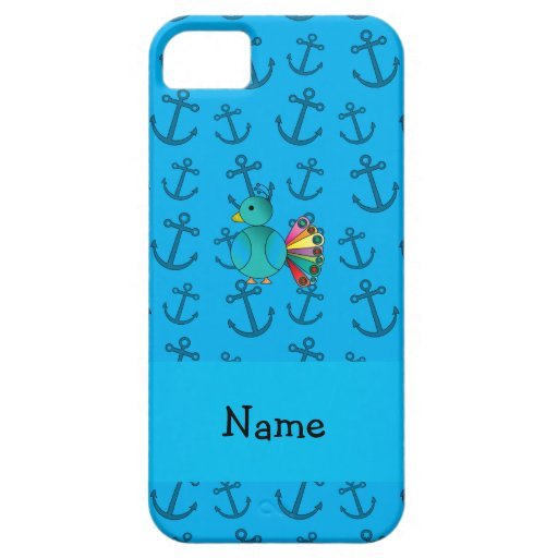 El azul de pavo real conocido personalizado ancla  iPhone 5 Case-Mate cárcasas