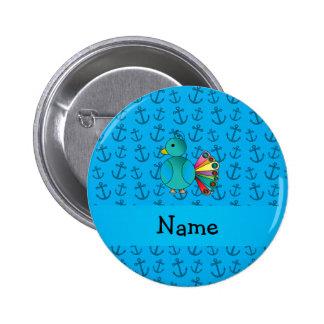 El azul de pavo real conocido personalizado ancla  pins