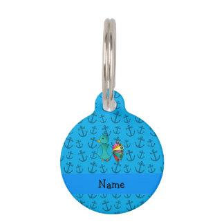 El azul de pavo real conocido personalizado ancla placas de mascota