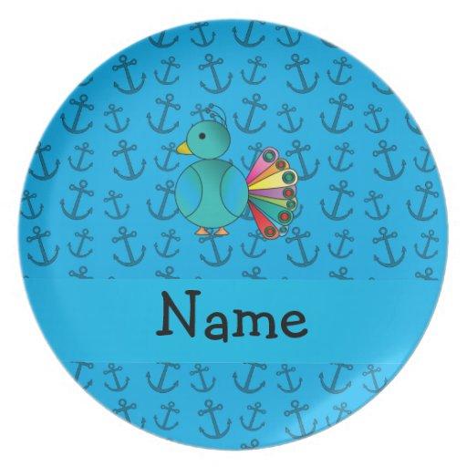 El azul de pavo real conocido personalizado ancla  plato