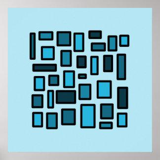 El azul del arte moderno ajusta el poster