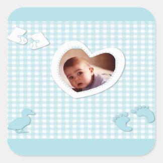 El azul del bebé comprueba la plantilla de la foto pegatina cuadrada
