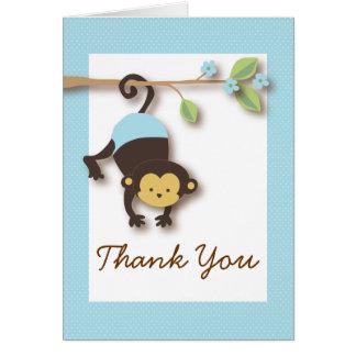 El azul del bebé del mono de la MOD le agradece Tarjeta Pequeña