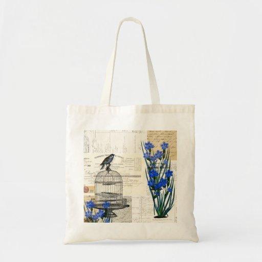 El azul del Birdcage del pájaro del vintage florec Bolsa Tela Barata
