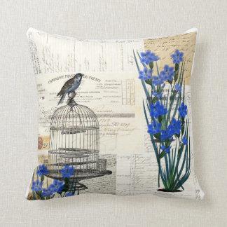 El azul del Birdcage del pájaro del vintage florec Almohadas