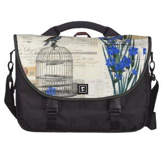 El azul del Birdcage del vintage florece el bolso  Bolsas Para Portatil