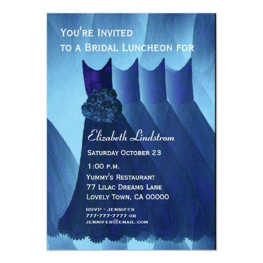 """El azul del brunch del alumerzo de la dama de invitación 5"""" x 7"""""""