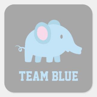 El azul del equipo, elefante del bebé, género calcomanías cuadradass personalizadas
