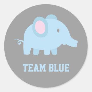 El azul del equipo, elefante del bebé, género etiqueta redonda