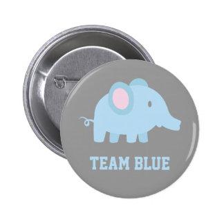 El azul del equipo, elefante del bebé, género pin redondo 5 cm