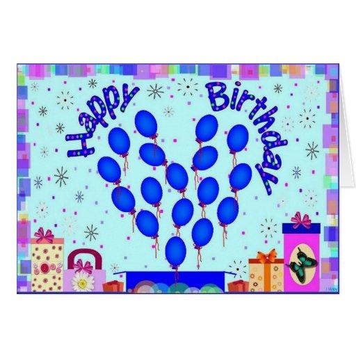 El azul del feliz cumpleaños hincha el corazón tarjeton