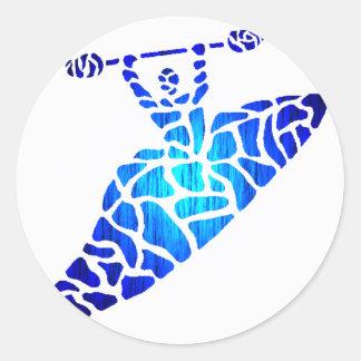 El azul del kajak se lame etiqueta redonda