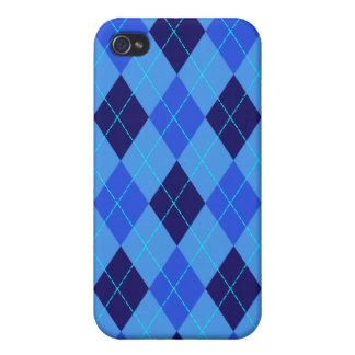 El azul del modelo de Argyle sombrea la caja del i iPhone 4 Carcasa