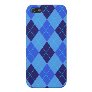El azul del modelo de Argyle sombrea la caja del i iPhone 5 Cárcasas