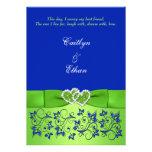 El azul del monograma, floral verde, el casarse de