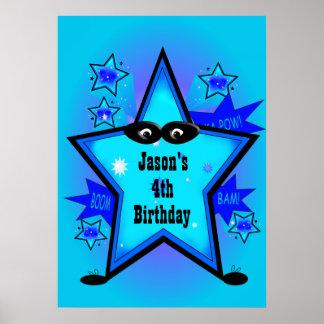 El azul del muchacho del cumpleaños de la estrella póster