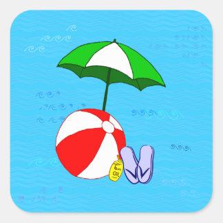 El azul del paraguas de la piscina de la pelota de pegatina cuadrada