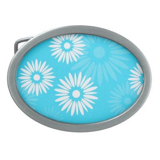 El azul del verano florece la hebilla del cinturón hebillas de cinturon ovales