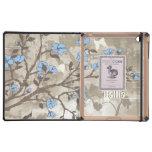 El azul del vintage florece la caja floral del iPad protectores