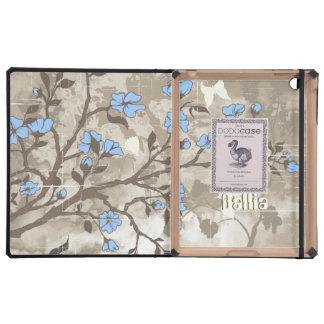 El azul del vintage florece la caja floral del iPa iPad Protectores
