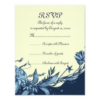 El azul del vintage florece la tarjeta amarillo comunicados personalizados