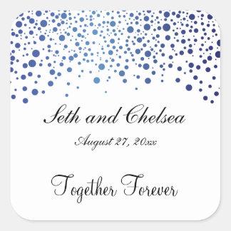 El azul del zafiro del día de boda puntea el | pegatina cuadrada