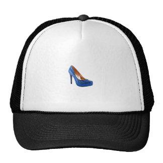 El azul del zapato del tacón alto de la moda añade gorra