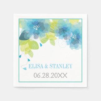 El azul delicado florece el boda floral de la servilletas desechables