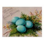 El azul Eggs los saludos de Pascua Tarjeta Postal