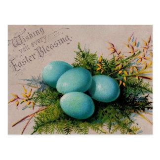 El azul Eggs los saludos de Pascua Tarjetas Postales