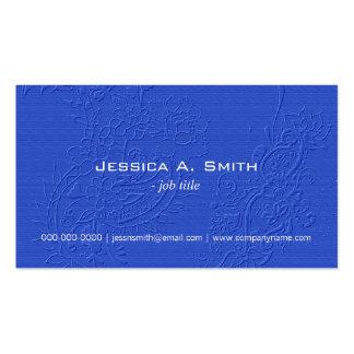 El azul elegante bordó textura floral de la tela tarjetas de visita