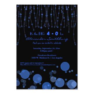El azul elegante encadena a la fiesta de invitación 11,4 x 15,8 cm