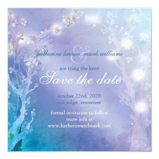 """El azul elegante se ruboriza reserva del boda la invitación 5.25"""" x 5.25"""""""