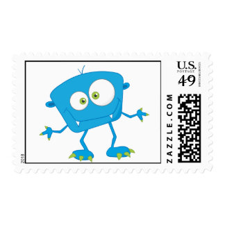 El azul embroma al extranjero del monstruo timbre postal