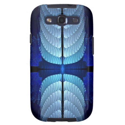 El azul empluma el extracto del fractal samsung galaxy s3 fundas