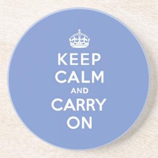 El azul en colores pastel guarda calma y continúa posavasos personalizados