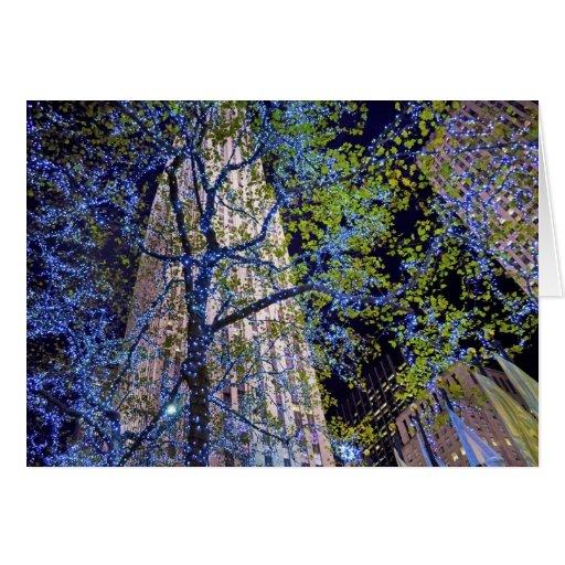 El azul enciende el centro 2012 de Rockefeller Tarjeta De Felicitación