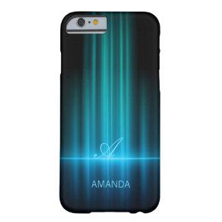 El azul enciende iphone con monograma 6 casos funda de iPhone 6 barely there
