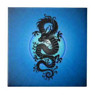 El azul estalló el dragón chino azulejo cuadrado pequeño