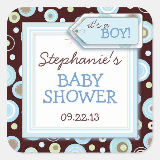 El azul feliz puntea favor del bebé del muchacho y calcomania cuadradas personalizadas