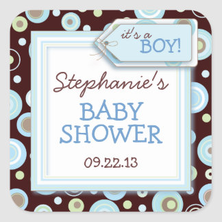 El azul feliz puntea favor del bebé del muchacho y pegatina cuadrada
