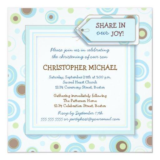 El azul feliz puntea la invitación del bautizo del invitación 13,3 cm x 13,3cm