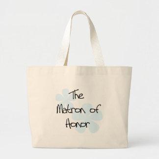 El azul florece a la matrona del honor bolsa tela grande