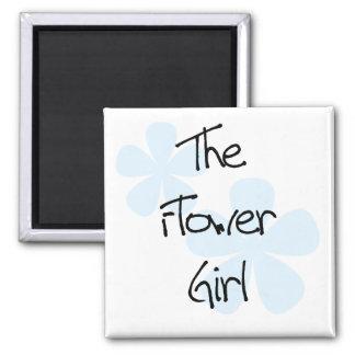 El azul florece al florista imán cuadrado