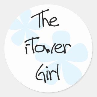 El azul florece al florista pegatina redonda