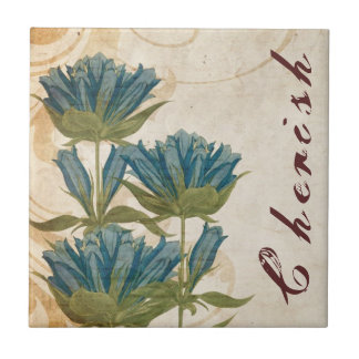 El azul florece el boda del vintage azulejo cuadrado pequeño